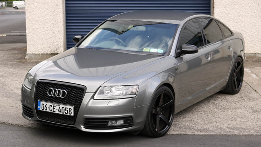 audi a6 c6 wrapped dark siver