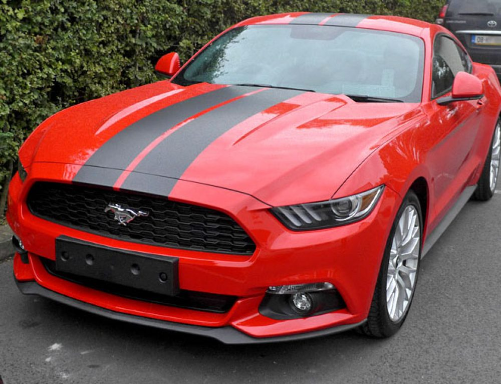 Ford Mustang racing stripes + dechroming