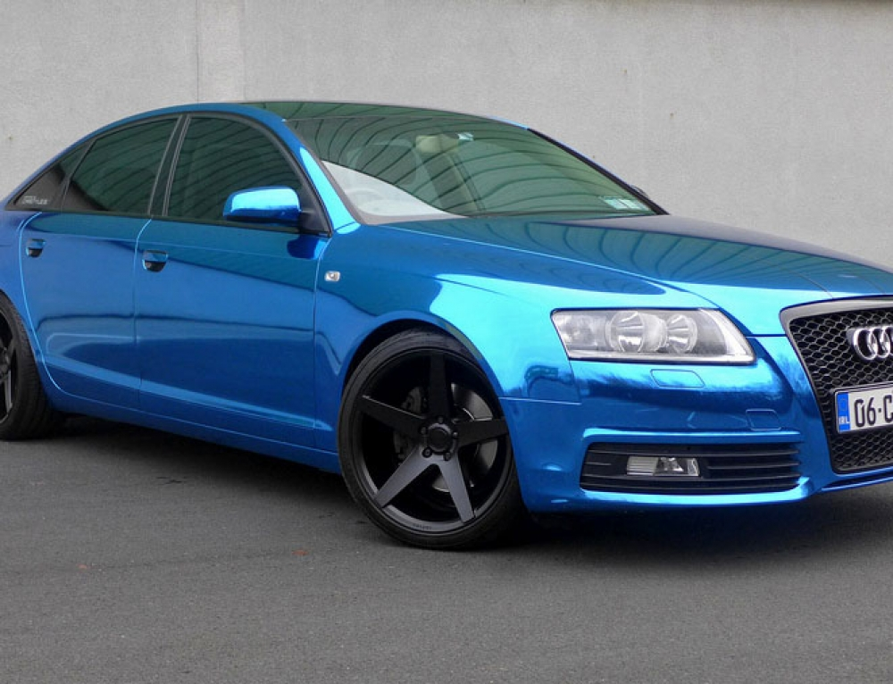 Blue chrome wrap Audi A6