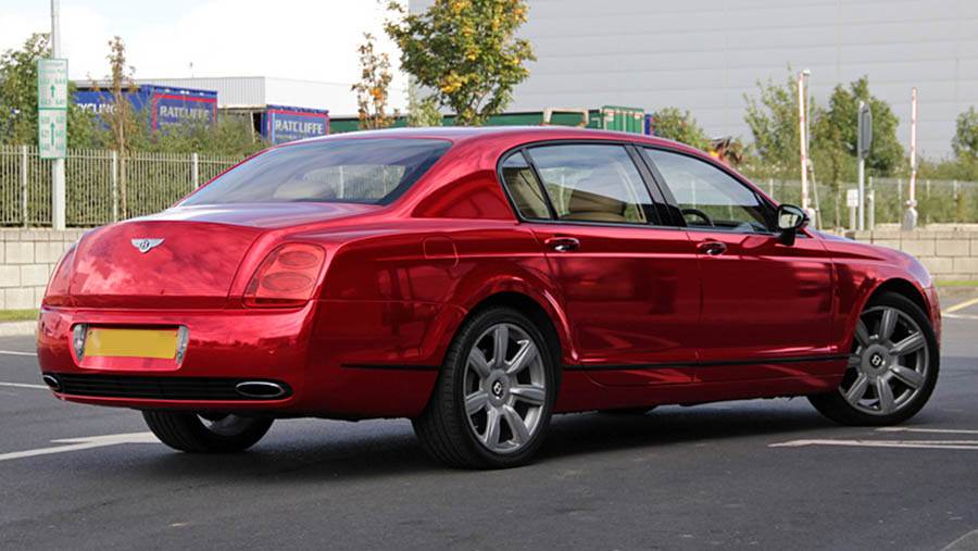 bentley red chrome wrap