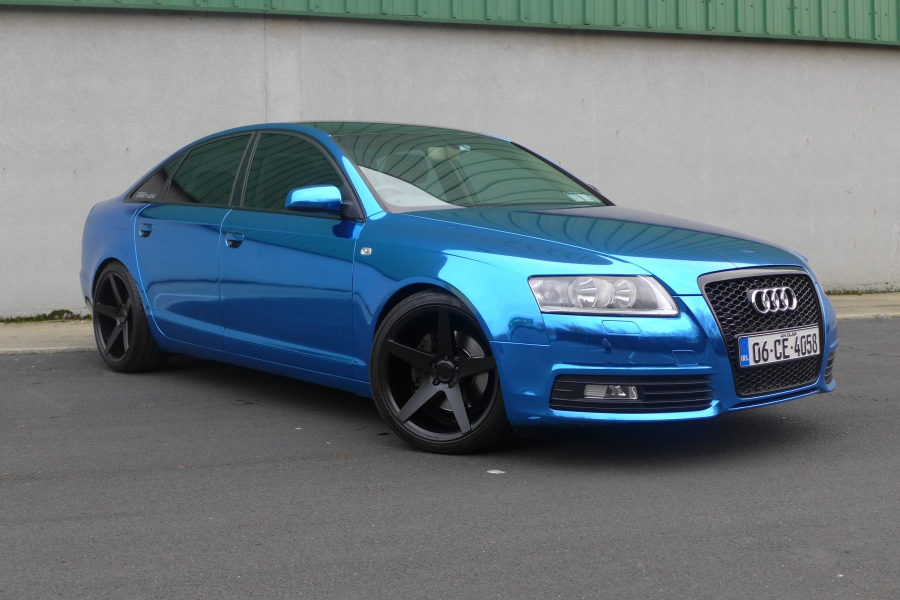 Audi A6 blue chrome wrap